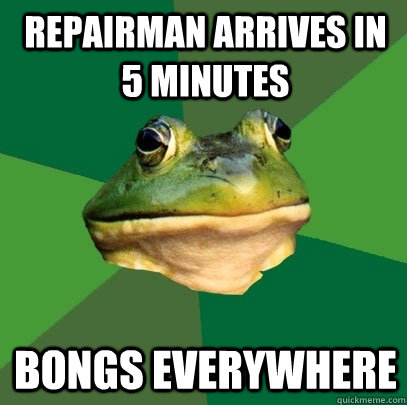 Repairman arrives in 5 minutes Bongs everywhere - Repairman arrives in 5 minutes Bongs everywhere  Foul Bachelor Frog