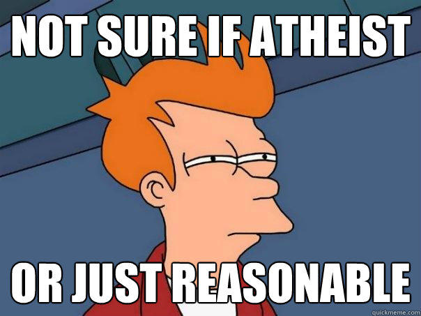 Not sure if atheist or just reasonable - Not sure if atheist or just reasonable  Futurama Fry
