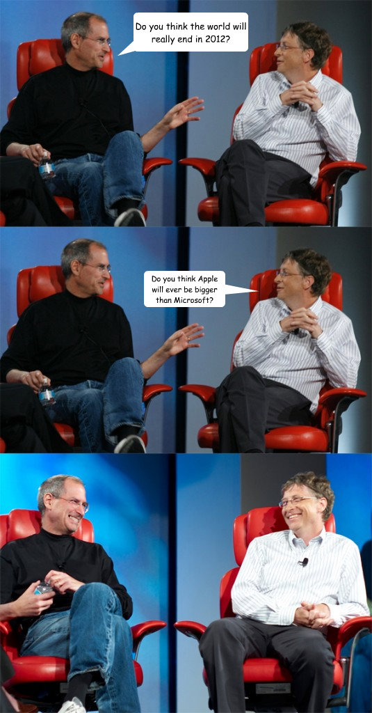 Do you think the world will really end in 2012? Do you think Apple will ever be bigger than Microsoft? - Do you think the world will really end in 2012? Do you think Apple will ever be bigger than Microsoft?  Steve Jobs vs Bill Gates