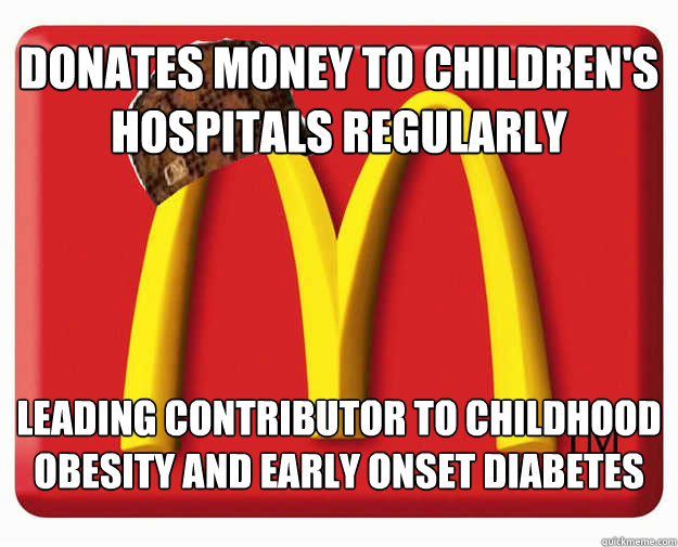 Donates money to Children's hospitals regularly Leading contributor to childhood obesity and early onset diabetes