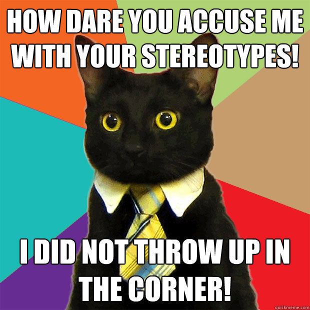 How dare you accuse me with your stereotypes! I did not throw up in the corner! - How dare you accuse me with your stereotypes! I did not throw up in the corner!  Business Cat