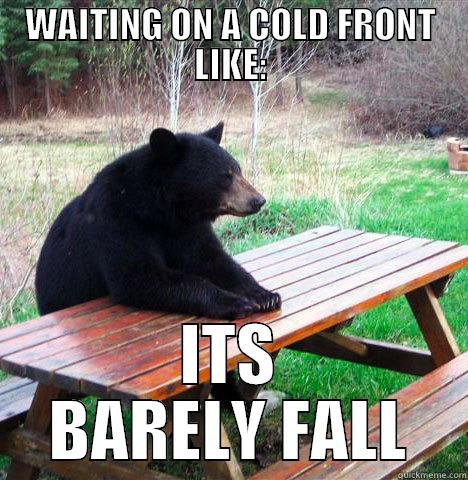 WAITING ON A COLD FRONT LIKE: ITS BARELY FALL waiting bear