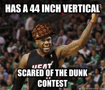 Has a 44 inch vertical scared of the dunk contest - Has a 44 inch vertical scared of the dunk contest  Misc