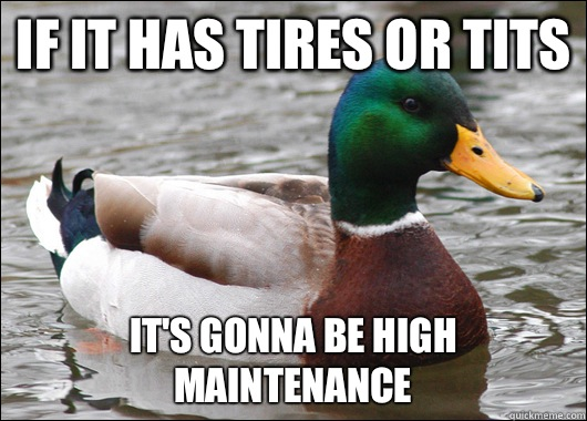 If it has tires or tits It's gonna be high maintenance - If it has tires or tits It's gonna be high maintenance  Actual Advice Mallard