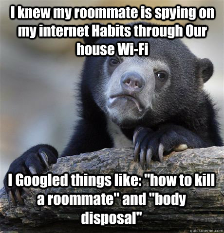 I knew my roommate is spying on my internet Habits through Our house Wi-Fi I Googled things like: