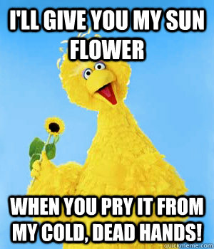 I'll give you my sun flower when you pry it from my cold, dead hands! - I'll give you my sun flower when you pry it from my cold, dead hands!  Big Bird NRA