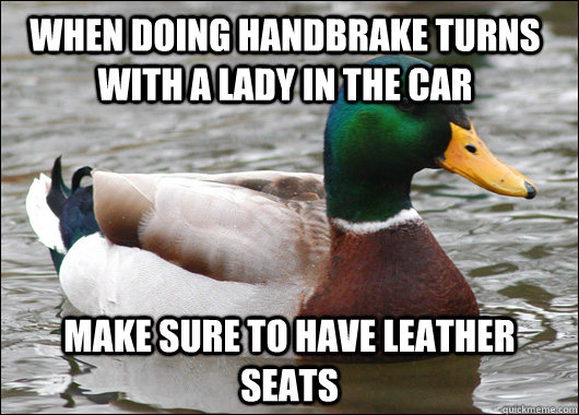 When doing handbrake turns with a lady in the car make sure to have leather seats - When doing handbrake turns with a lady in the car make sure to have leather seats  Actual Advice Mallard