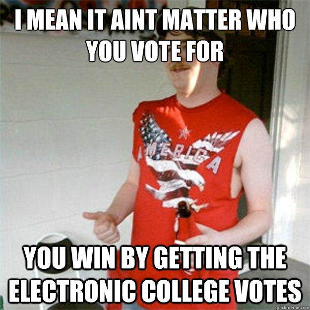 i mean it aint matter who you vote for you win by getting the electronic college votes - i mean it aint matter who you vote for you win by getting the electronic college votes  Misc