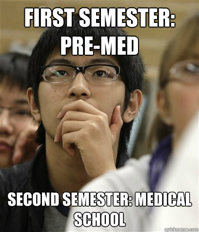 First Semester: Pre-Med Second Semester: Medical School  Asian College Freshman