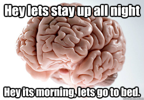 Hey lets stay up all night Hey its morning, lets go to bed.   - Hey lets stay up all night Hey its morning, lets go to bed.    Scumbag Brain