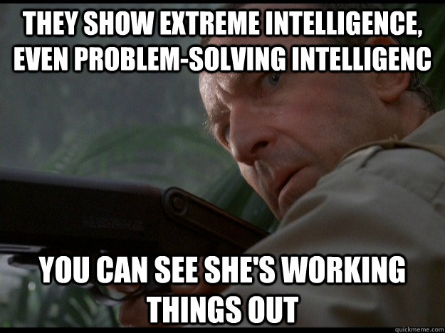 They show extreme intelligence, even problem-solving intelligenc You can see She's working things out