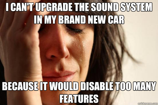 I can't upgrade the sound system in my brand new car because it would disable too many features - I can't upgrade the sound system in my brand new car because it would disable too many features  First World Problems