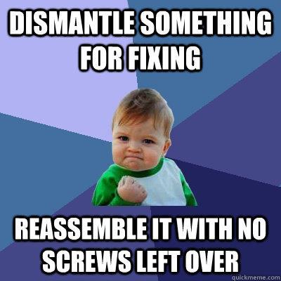 dismantle something for fixing reassemble it with no screws left over - dismantle something for fixing reassemble it with no screws left over  Success Kid