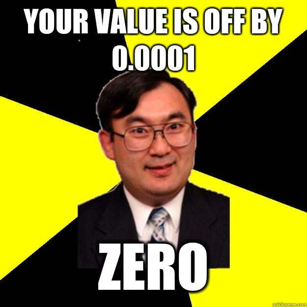 Your value is off by 0.0001 Zero