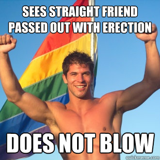 sees straight friend passed out with erection does not blow