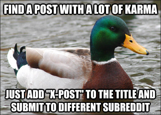 Find a post with a lot of karma just add