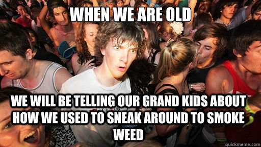 when we are old we will be telling our grand kids about how we used to sneak around to smoke weed  - when we are old we will be telling our grand kids about how we used to sneak around to smoke weed   Sudden Clarity Clarence