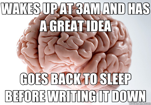 WAKES UP AT 3AM AND HAS A GREAT IDEA GOES BACK TO SLEEP BEFORE WRITING IT DOWN - WAKES UP AT 3AM AND HAS A GREAT IDEA GOES BACK TO SLEEP BEFORE WRITING IT DOWN  Scumbag Brain