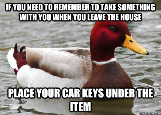 if you need to remember to take something with you when you leave the house Place your car keys under the item - if you need to remember to take something with you when you leave the house Place your car keys under the item  Malicious Advice Mallard