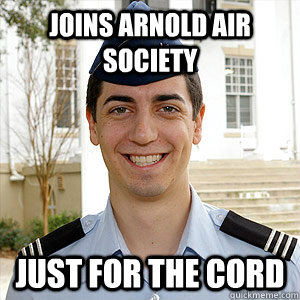 joins arnold air society just for the cord