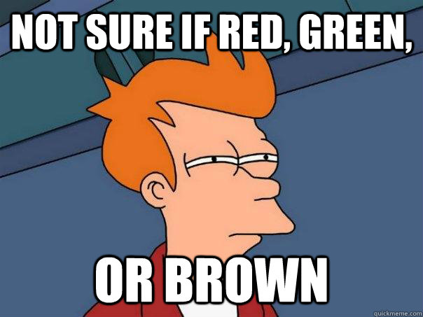 Not sure if red, green, or brown - Not sure if red, green, or brown  Futurama Fry