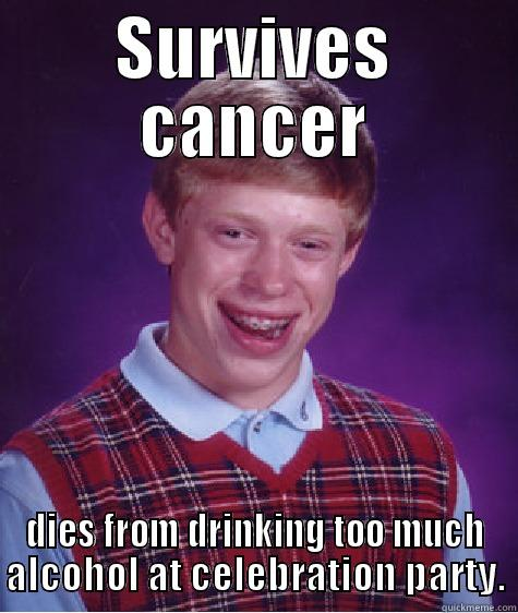 SURVIVES CANCER DIES FROM DRINKING TOO MUCH ALCOHOL AT CELEBRATION PARTY. Bad Luck Brian