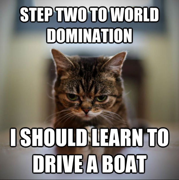 STEP TWO TO WORLD DOMINATION I SHOULD LEARN TO DRIVE A BOAT