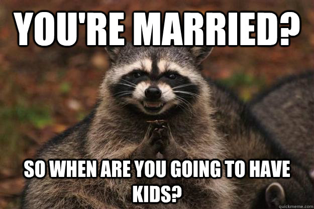 You're married? So when are you going to have kids? - You're married? So when are you going to have kids?  Evil Plotting Raccoon