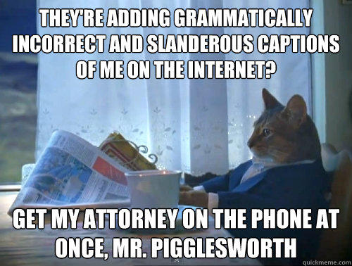 they're adding grammatically incorrect and slanderous captions of me on the internet? get my attorney on the phone at once, mr. pigglesworth  The One Percent Cat
