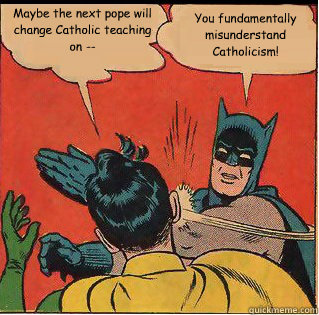 Maybe the next pope will change Catholic teaching on -- You fundamentally misunderstand Catholicism! - Maybe the next pope will change Catholic teaching on -- You fundamentally misunderstand Catholicism!  Slappin Batman