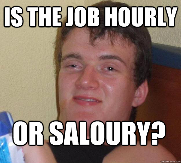 Is the job Hourly or Saloury?  - Is the job Hourly or Saloury?   10 Guy