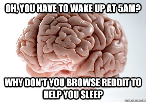 Oh, you have to wake up at 5am? Why don't you browse Reddit to help you sleep - Oh, you have to wake up at 5am? Why don't you browse Reddit to help you sleep  Scumbag Brain