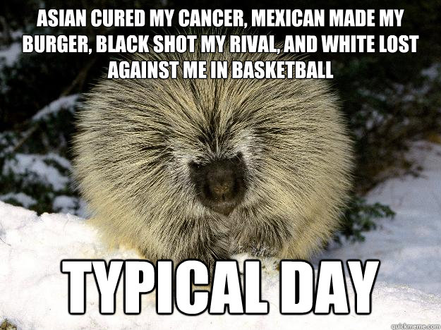 Asian cured my cancer, mexican made my burger, black shot my rival, and white lost against me in basketball typical day