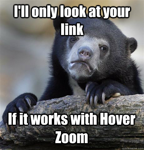 I'll only look at your link If it works with Hover Zoom - I'll only look at your link If it works with Hover Zoom  Confession Bear