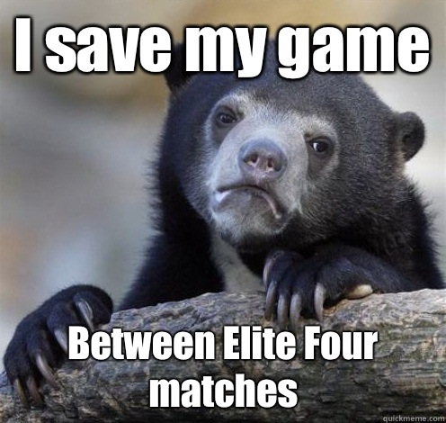 I save my game Between Elite Four matches