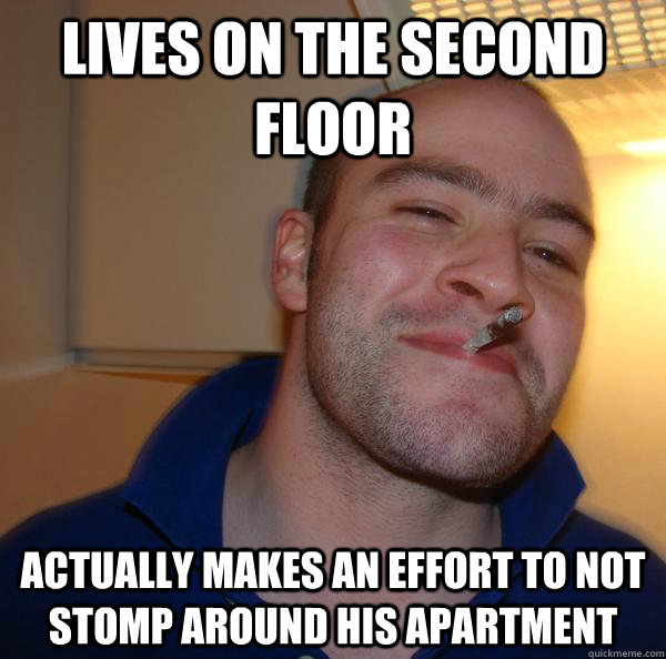 Lives on the second floor  actually makes an effort to not stomp around his apartment - Lives on the second floor  actually makes an effort to not stomp around his apartment  Misc