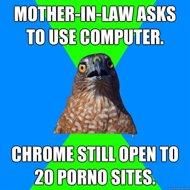 mother-in-law asks to use computer. chrome still open to 20 porno sites. - mother-in-law asks to use computer. chrome still open to 20 porno sites.  Hawkward