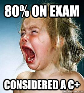80% on exam Considered a C+