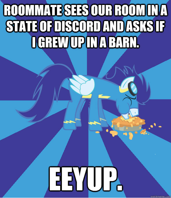 Roommate sees our room in a state of discord and asks if I grew up in a barn. Eeyup.  Foal Bachelor Brony