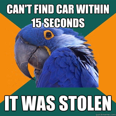 Can't find car within 15 seconds It was stolen - Can't find car within 15 seconds It was stolen  Paranoid Parrot