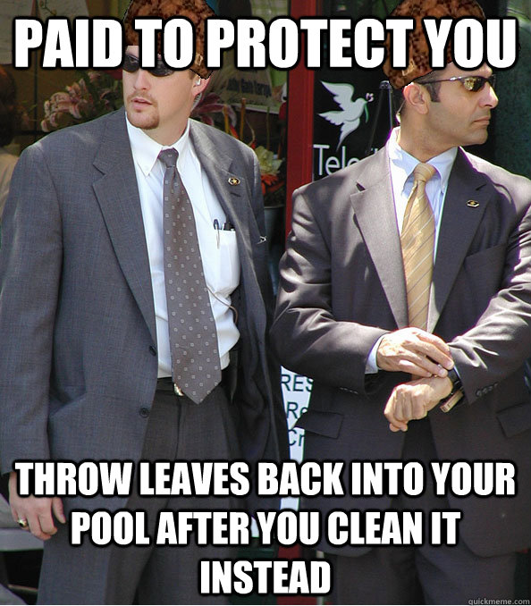 Paid to protect you Throw leaves back into your pool after you clean it instead - Paid to protect you Throw leaves back into your pool after you clean it instead  Scumbag Secret Service