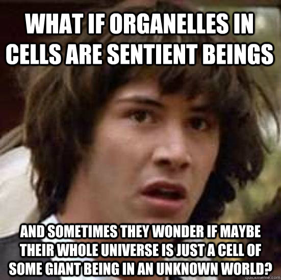 What if Organelles in cells are sentient beings and sometimes they wonder if maybe their whole universe is just a cell of some giant being in an unknown world? - What if Organelles in cells are sentient beings and sometimes they wonder if maybe their whole universe is just a cell of some giant being in an unknown world?  conspiracy keanu