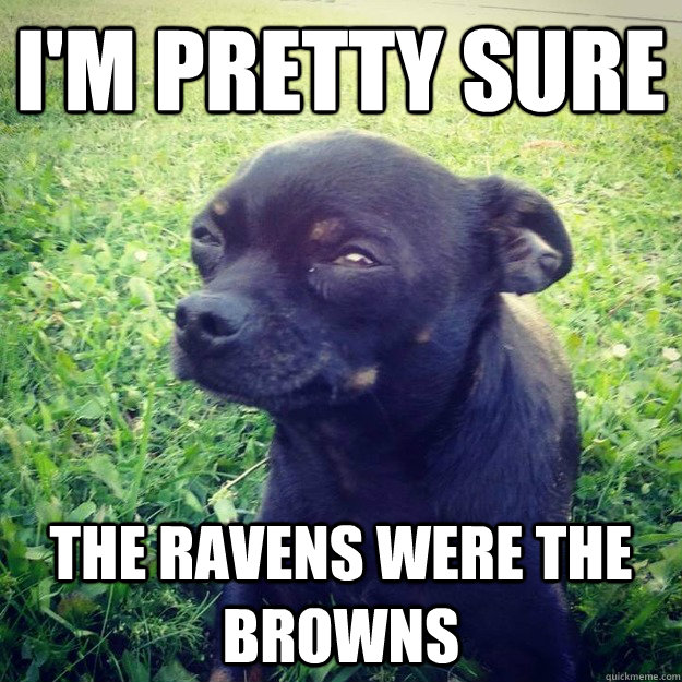 I'm pretty sure The Ravens were the Browns - I'm pretty sure The Ravens were the Browns  Skeptical Dog