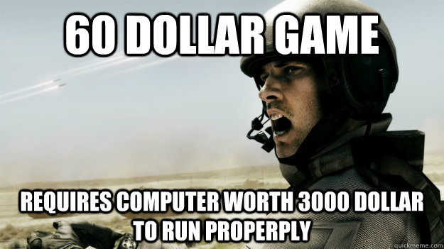 60 dollar game requires computer worth 3000 dollar to run properply
