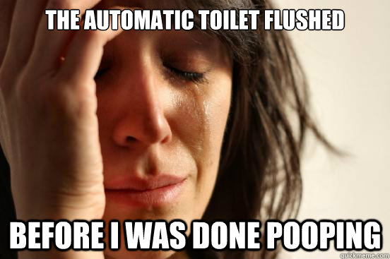 The automatic toilet flushed before i was done pooping - The automatic toilet flushed before i was done pooping  First World Problems