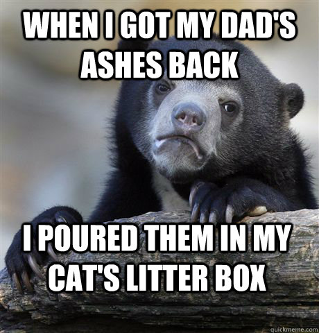 When i got my dad's ashes back I poured them in my cat's litter box