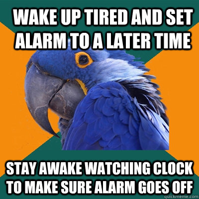 Wake up tired and set alarm to a later time stay awake watching clock to make sure alarm goes off - Wake up tired and set alarm to a later time stay awake watching clock to make sure alarm goes off  Paranoid Parrot