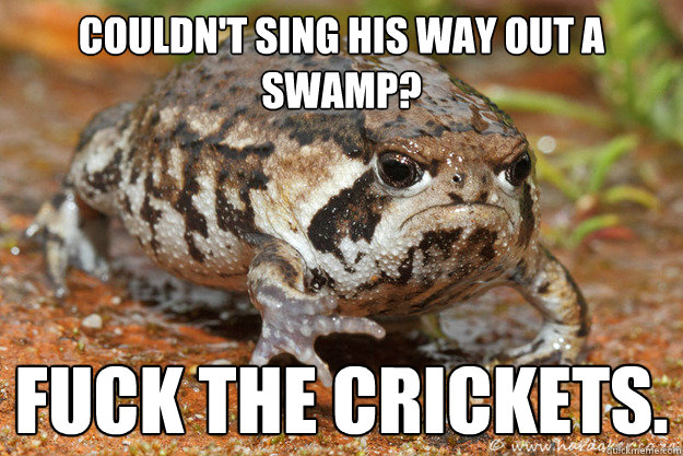 Couldn't sing his way out a swamp? Fuck The Crickets. - Couldn't sing his way out a swamp? Fuck The Crickets.  Grumpy toad with a message