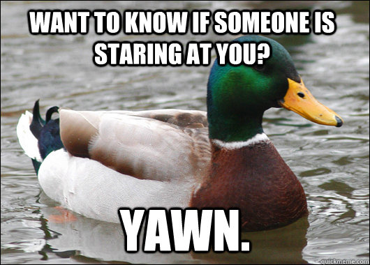 Want to know if someone is staring at you? Yawn. - Want to know if someone is staring at you? Yawn.  Actual Advice Mallard