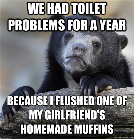 We had toilet problems for a year Because I flushed one of my girlfriend's homemade muffins - We had toilet problems for a year Because I flushed one of my girlfriend's homemade muffins  Confession Bear
